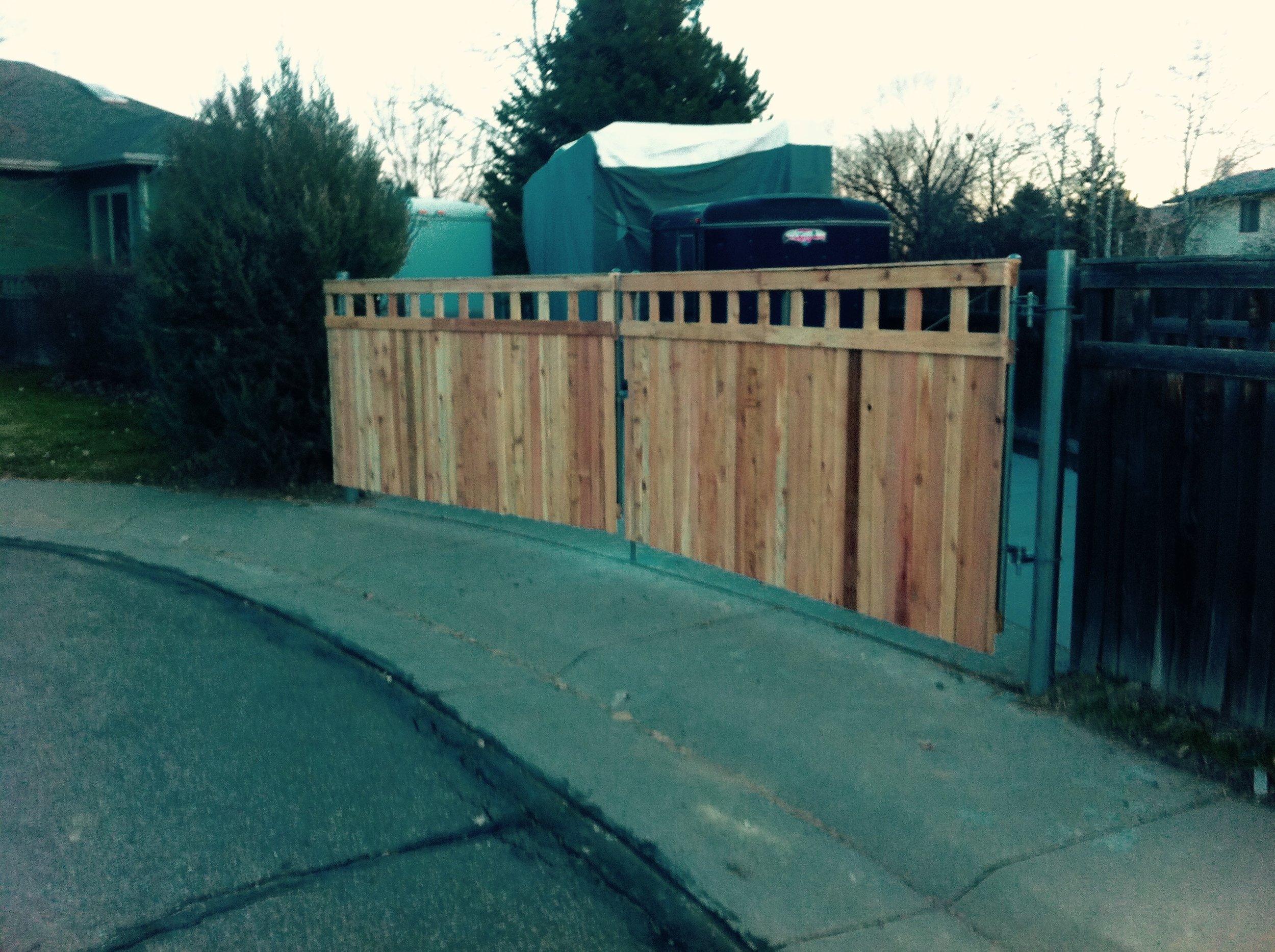 RV parking double gates - cedar on top of steel posts/framework