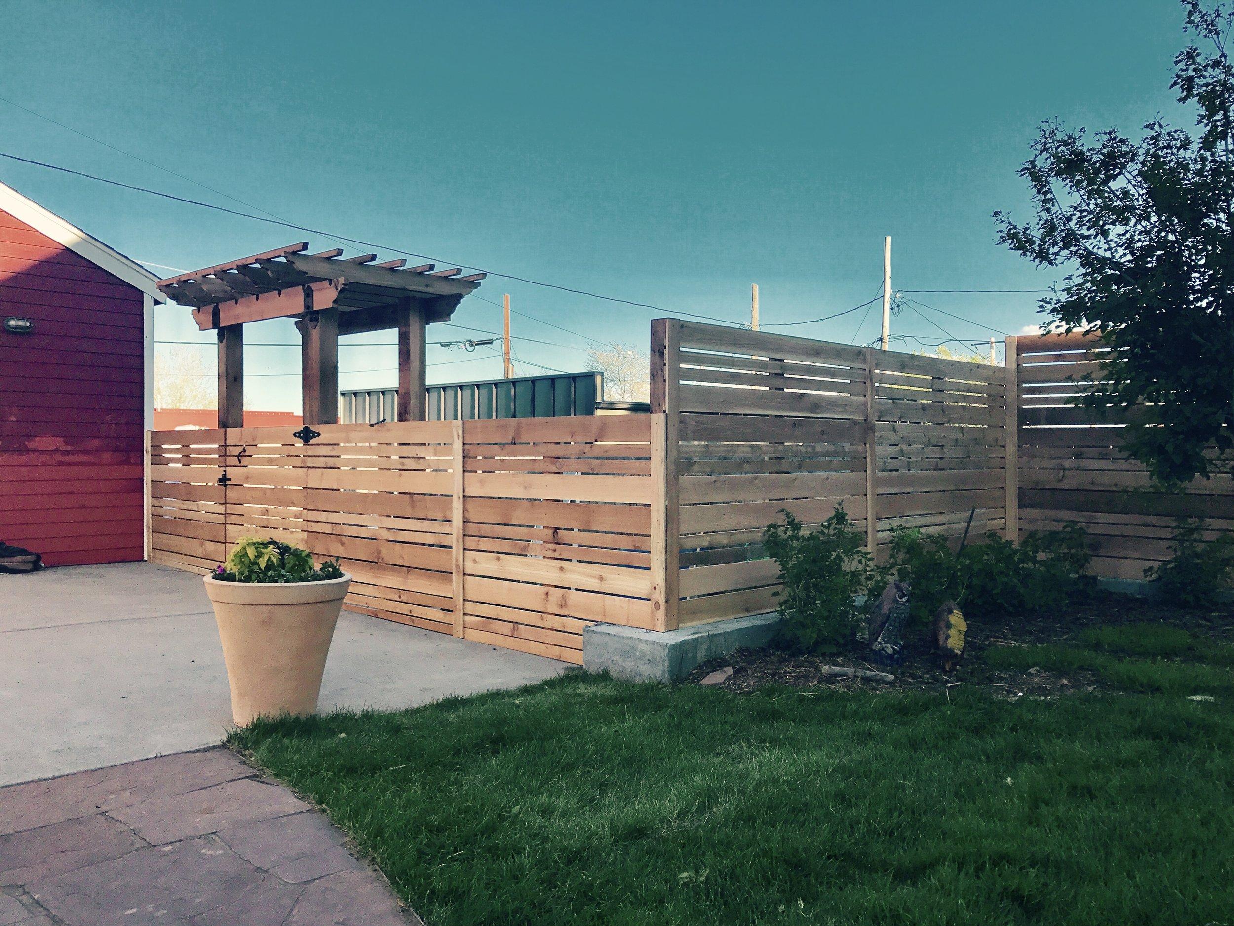 Pergola with custom walk gate - cedar