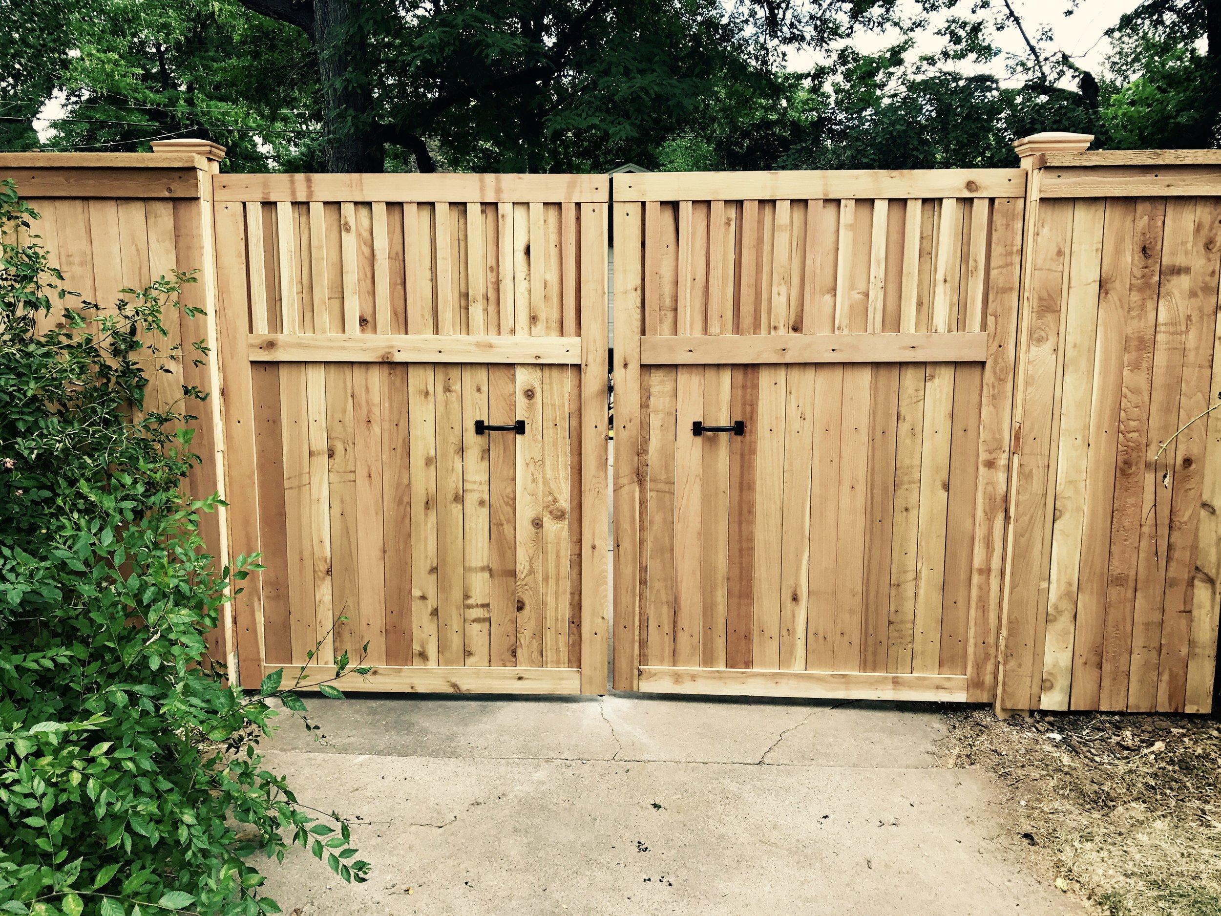 Custom double swing gate - cedar