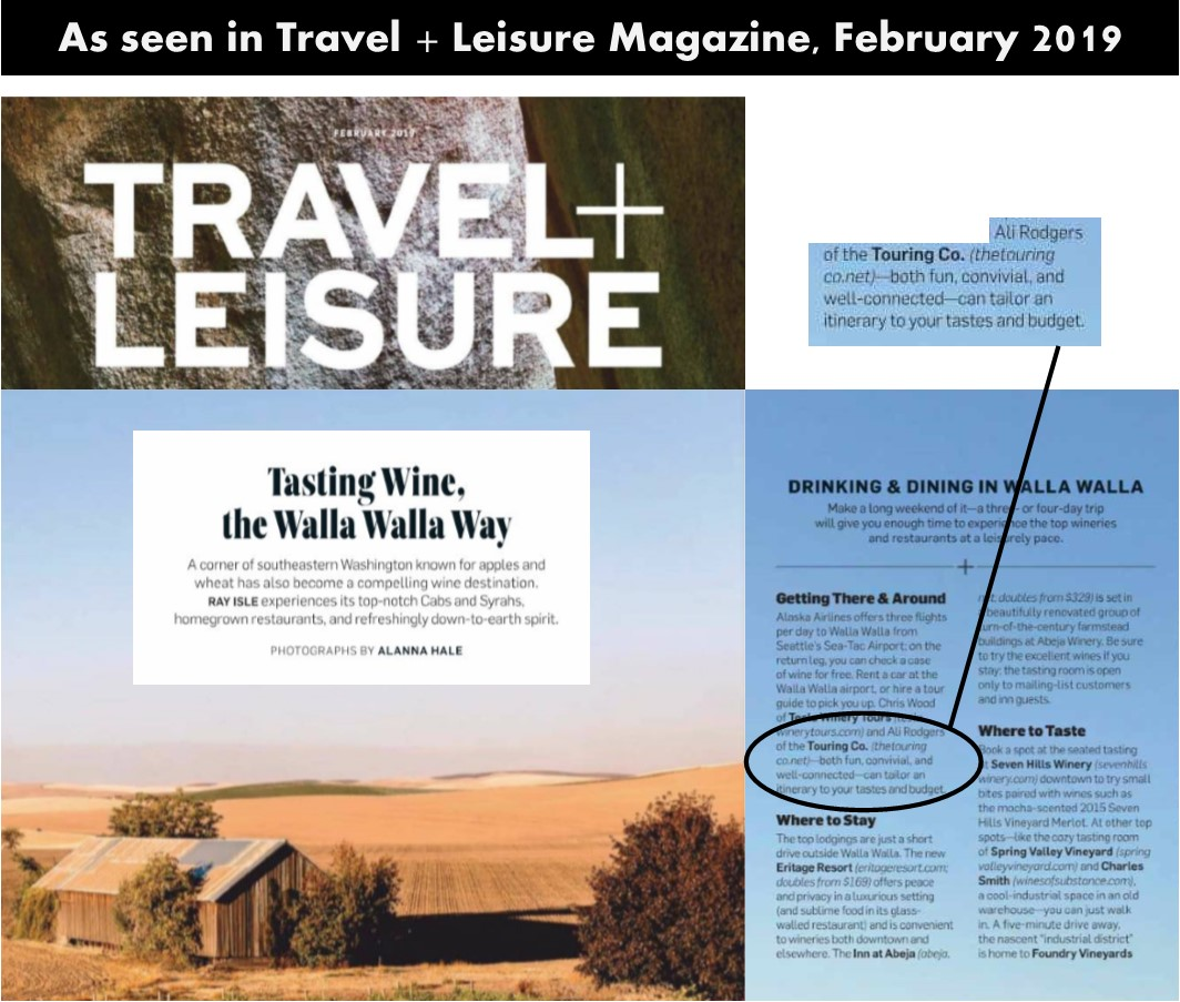 Walla Walla Article in Travel and Leisure Magazine, February 2019