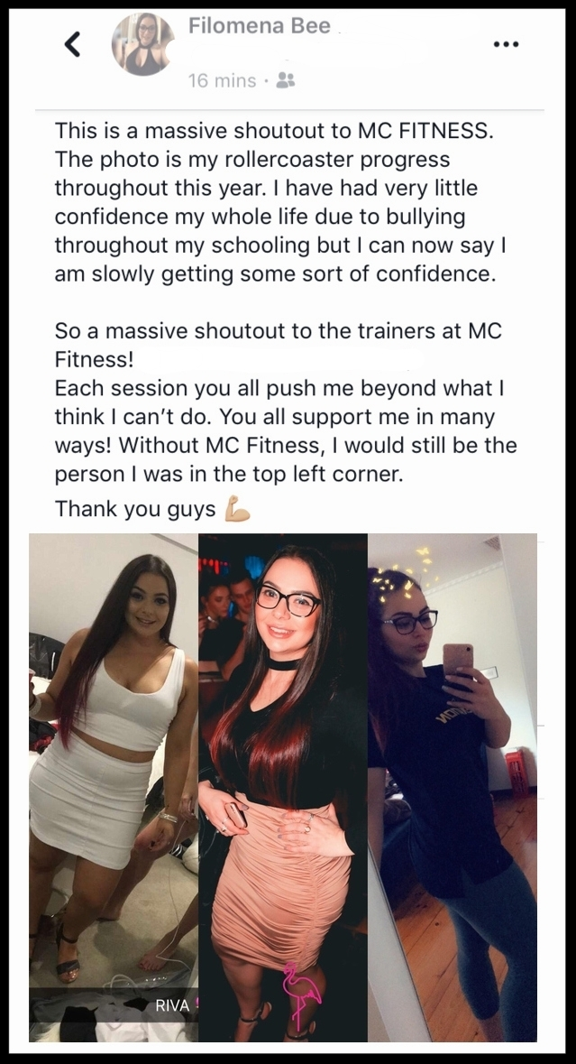 """""""Without MC Fitness, I would still be the person I was in the left (side of picture)"""" - FILOMENA BEE"""