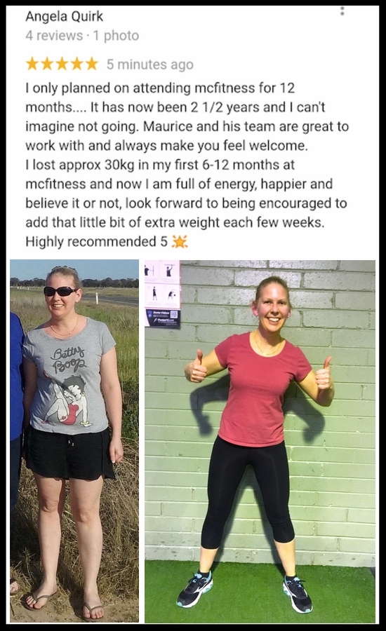 """""""I lost approx 30kg in my first 6 -12 months at MC Fitness"""" - ANGELA QUIRK"""