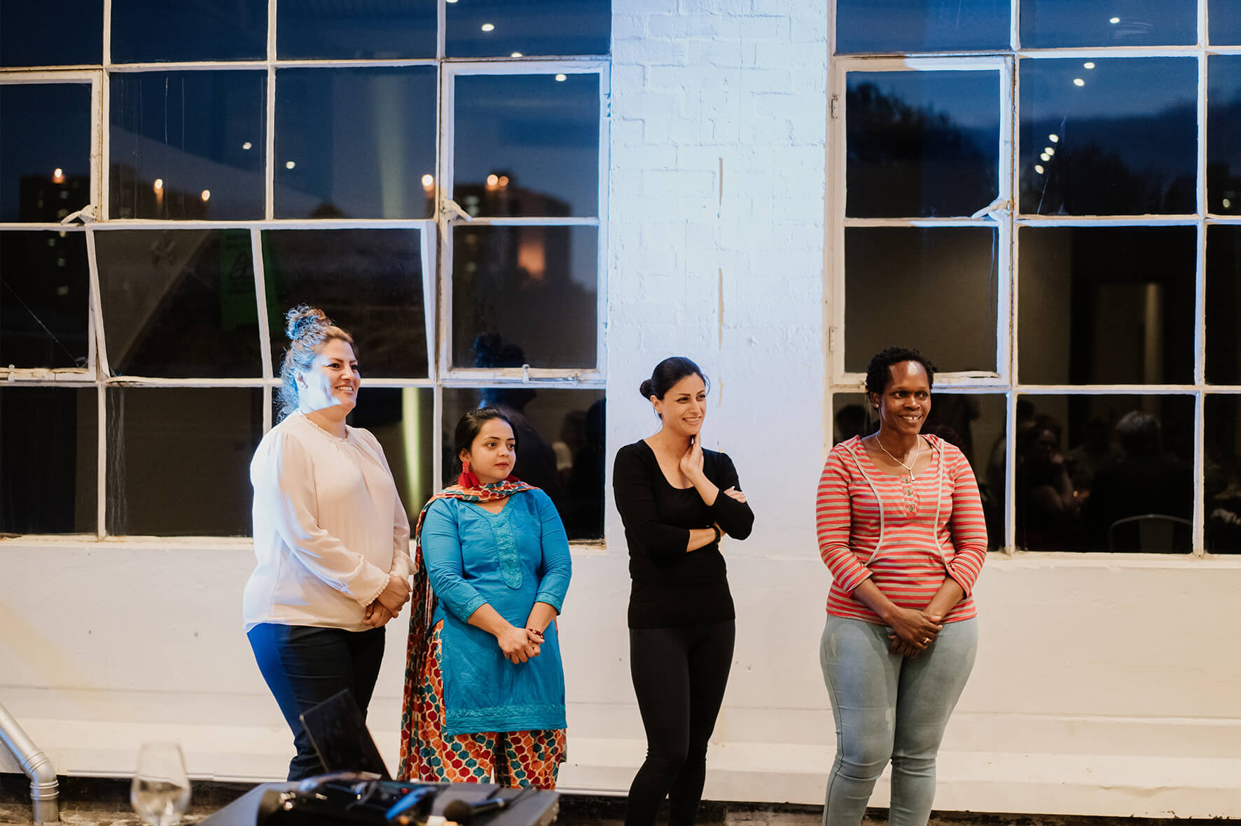 AmazingCo Refugee Degustation - From left - Somayeh, Darshini, Sepide and Perus at the end of the evening.jpg