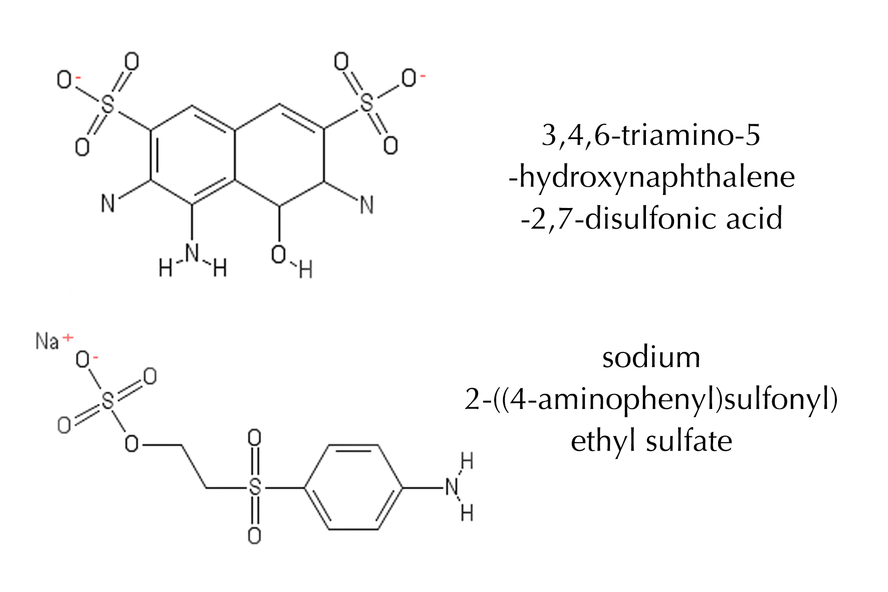 Two possible intermediate products (toxic) from decoloursing the Reactive Black 5
