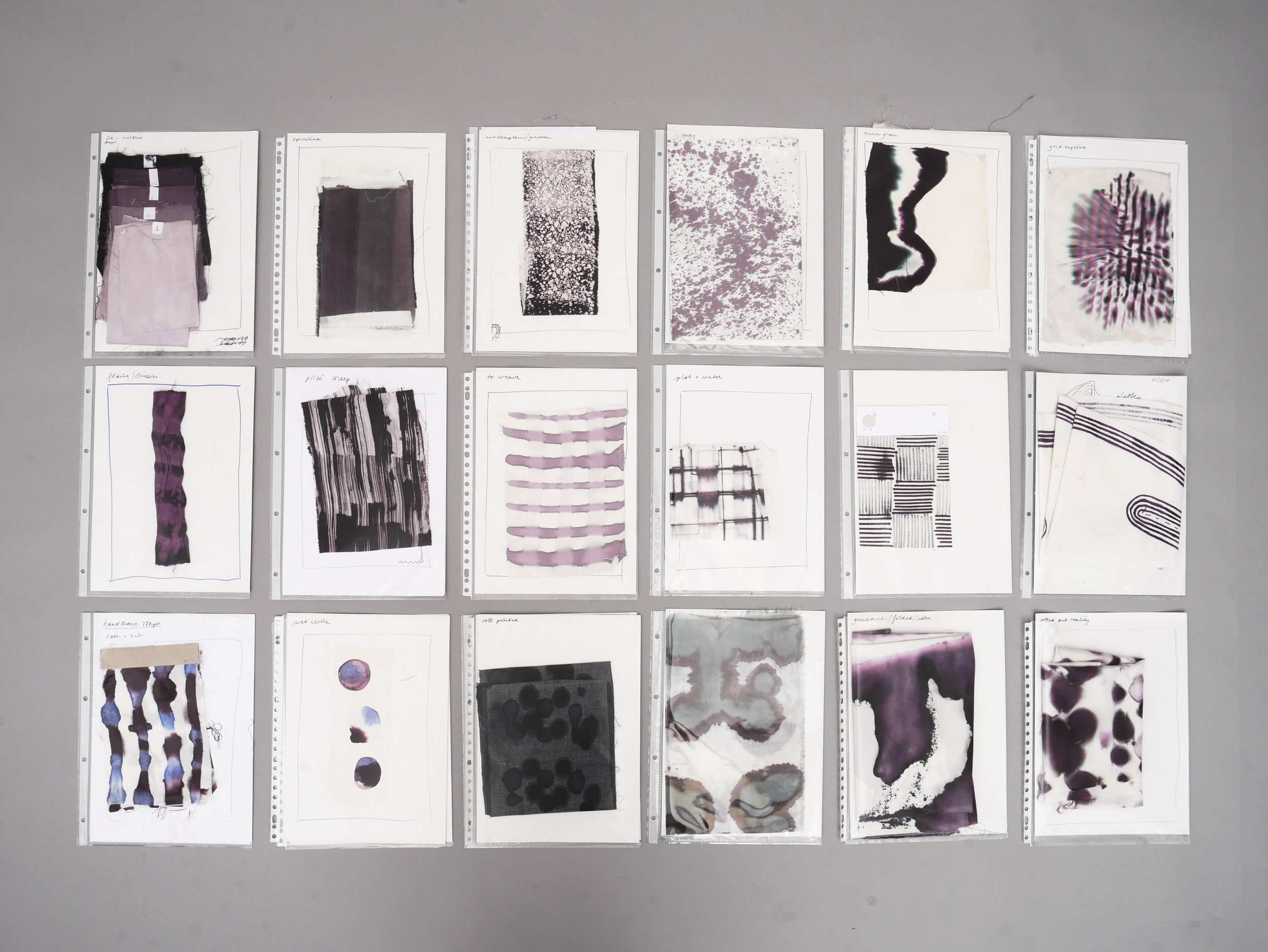 Aliki's research on upcycling waste inks. Courtesy of Aliki van der Kruijs