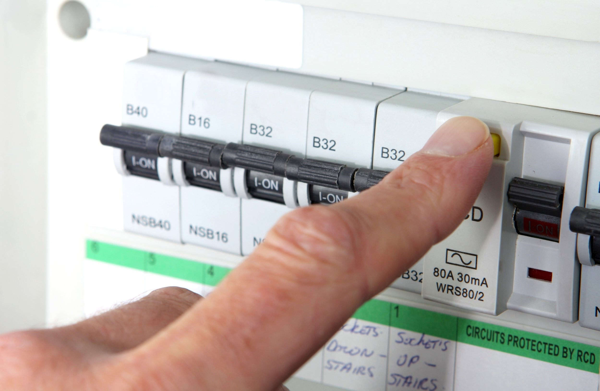 Testing an RCD (Residual Current Device) on a UK domestic electrical consumer unit or fuse box