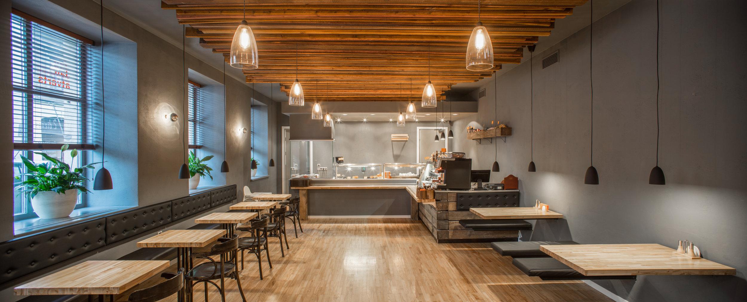 Copy of Interior of restaurant. Panorama. Wooden design.