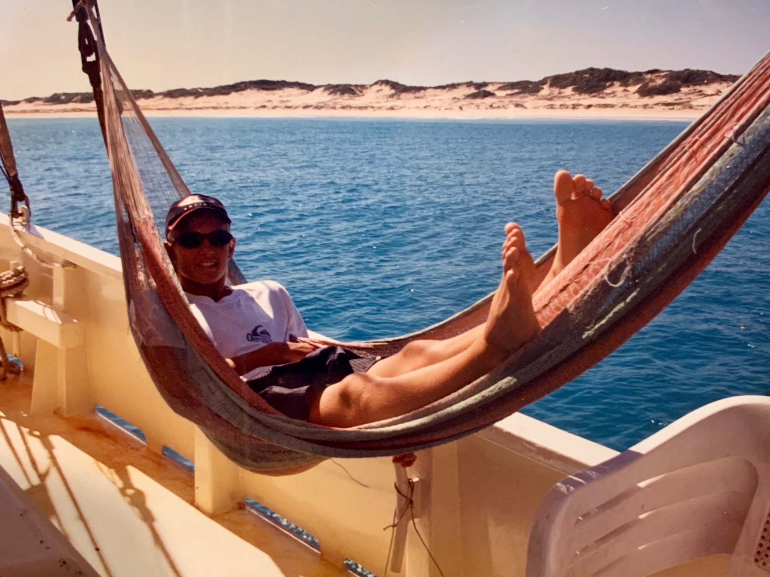 Working hard, or hardly working? Aboard Broome's old pearl lugger 'The Willie'.
