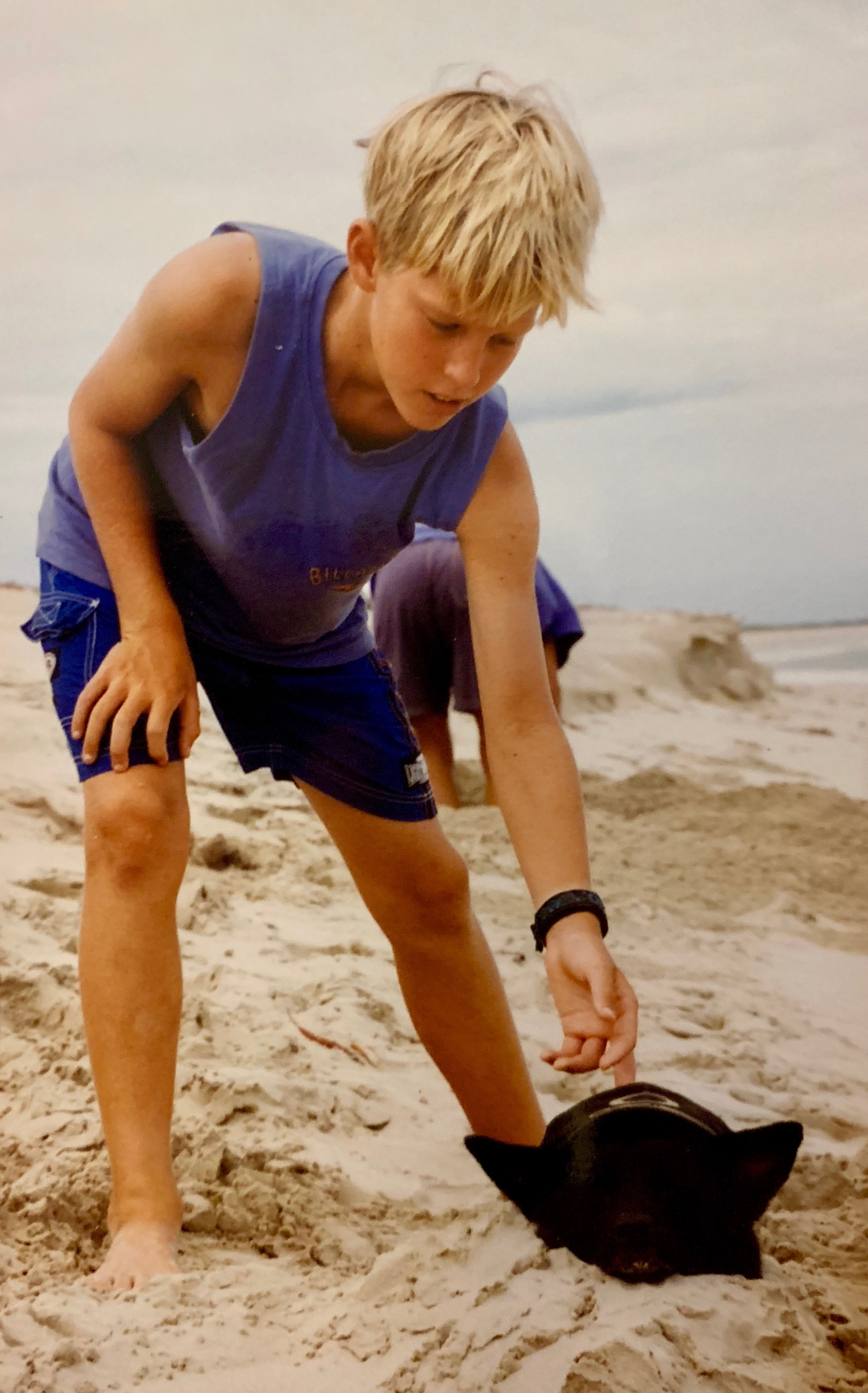 Me (aged 12) on a beach north of Broome with my best mate, a kelpie named Sooty