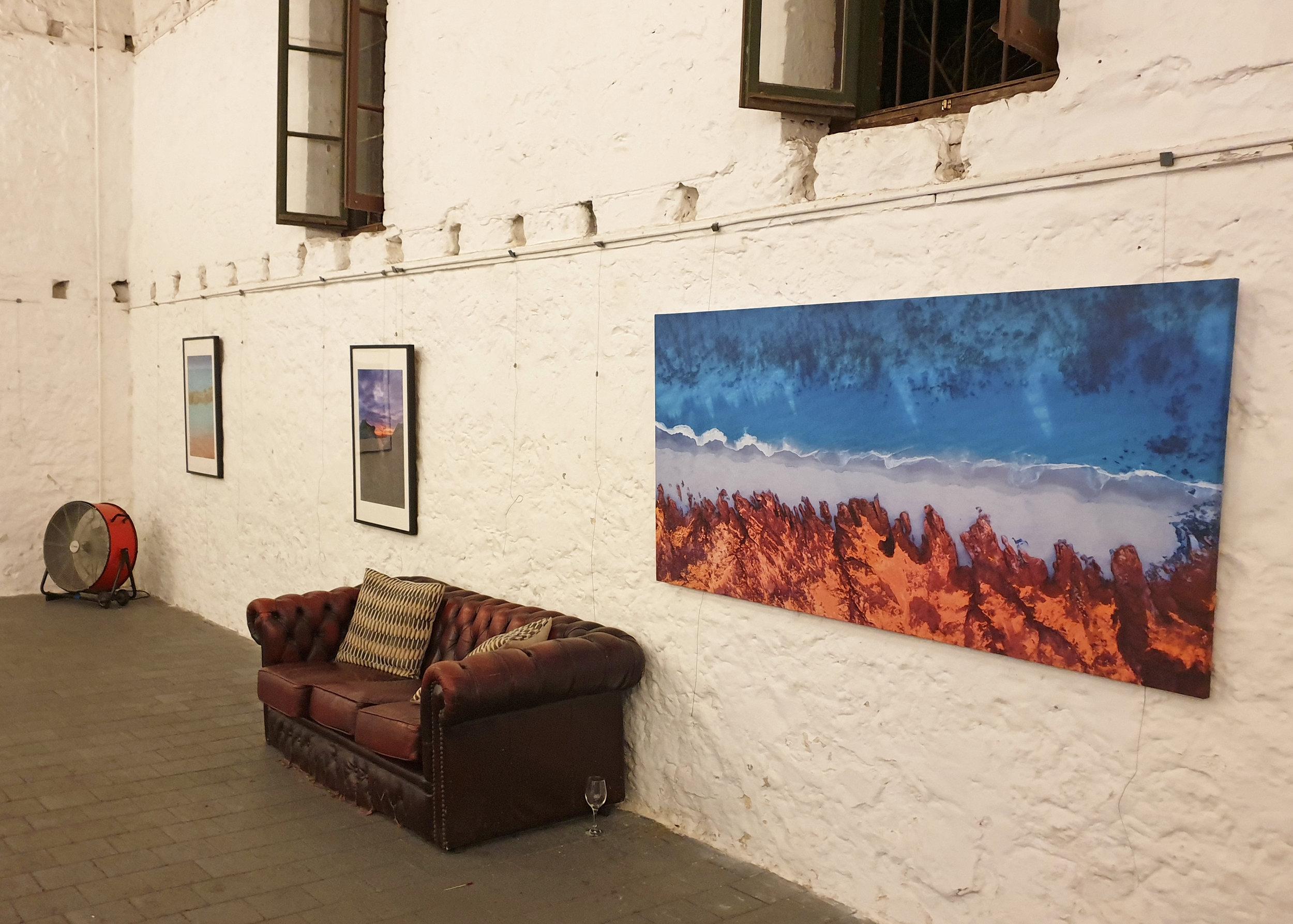 Jon Corpus' photos on the walls of Moores Gallery, Fremantle WA