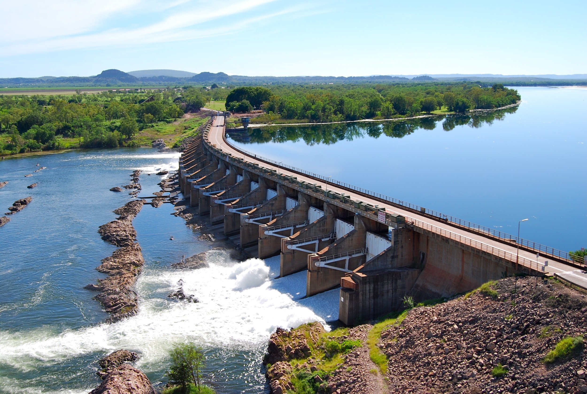 Kununurra's Diversion Dam, separating the Upper Ord (right) from the Lower Ord (left)