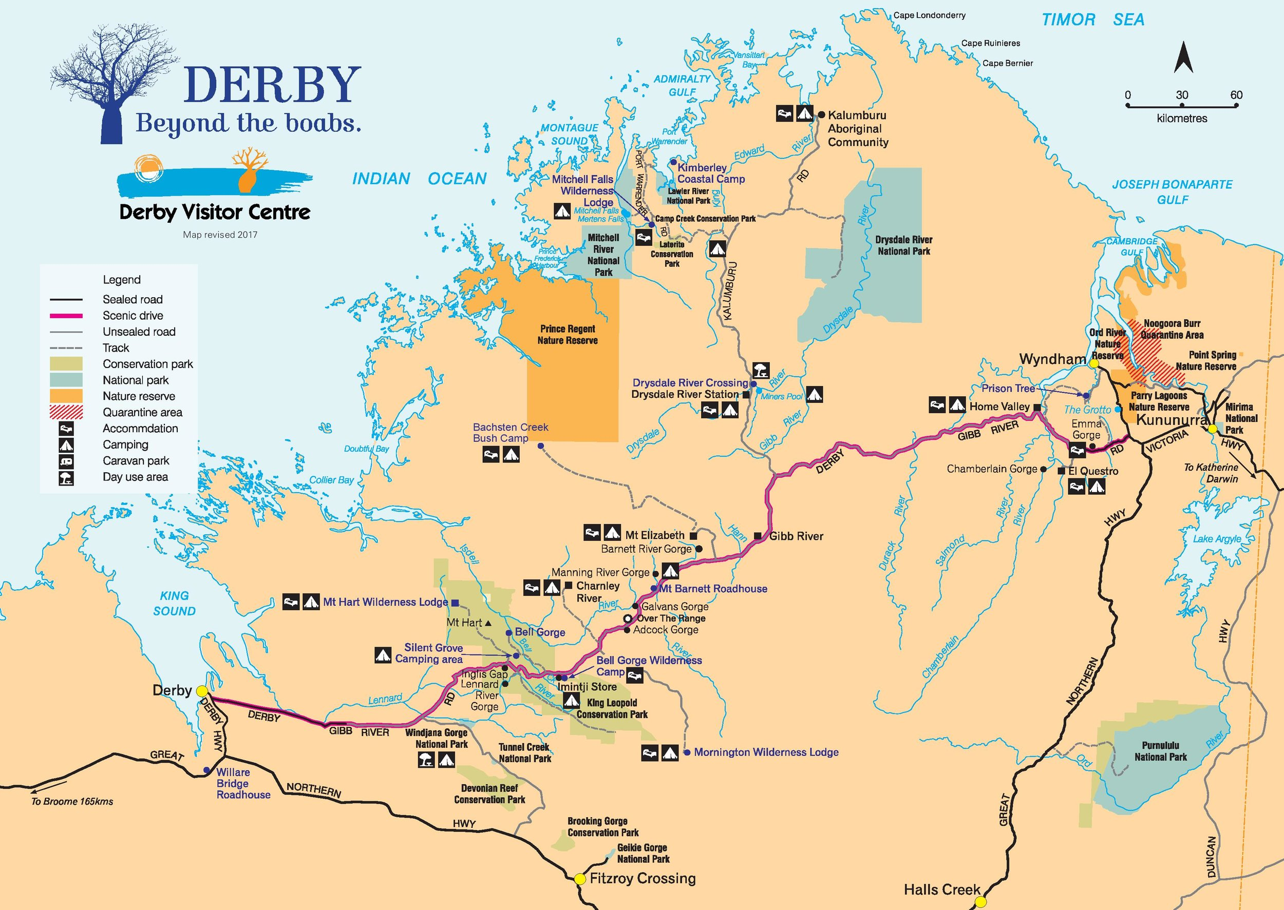 Gibb River Road map, by  Derby Visitor Centre.
