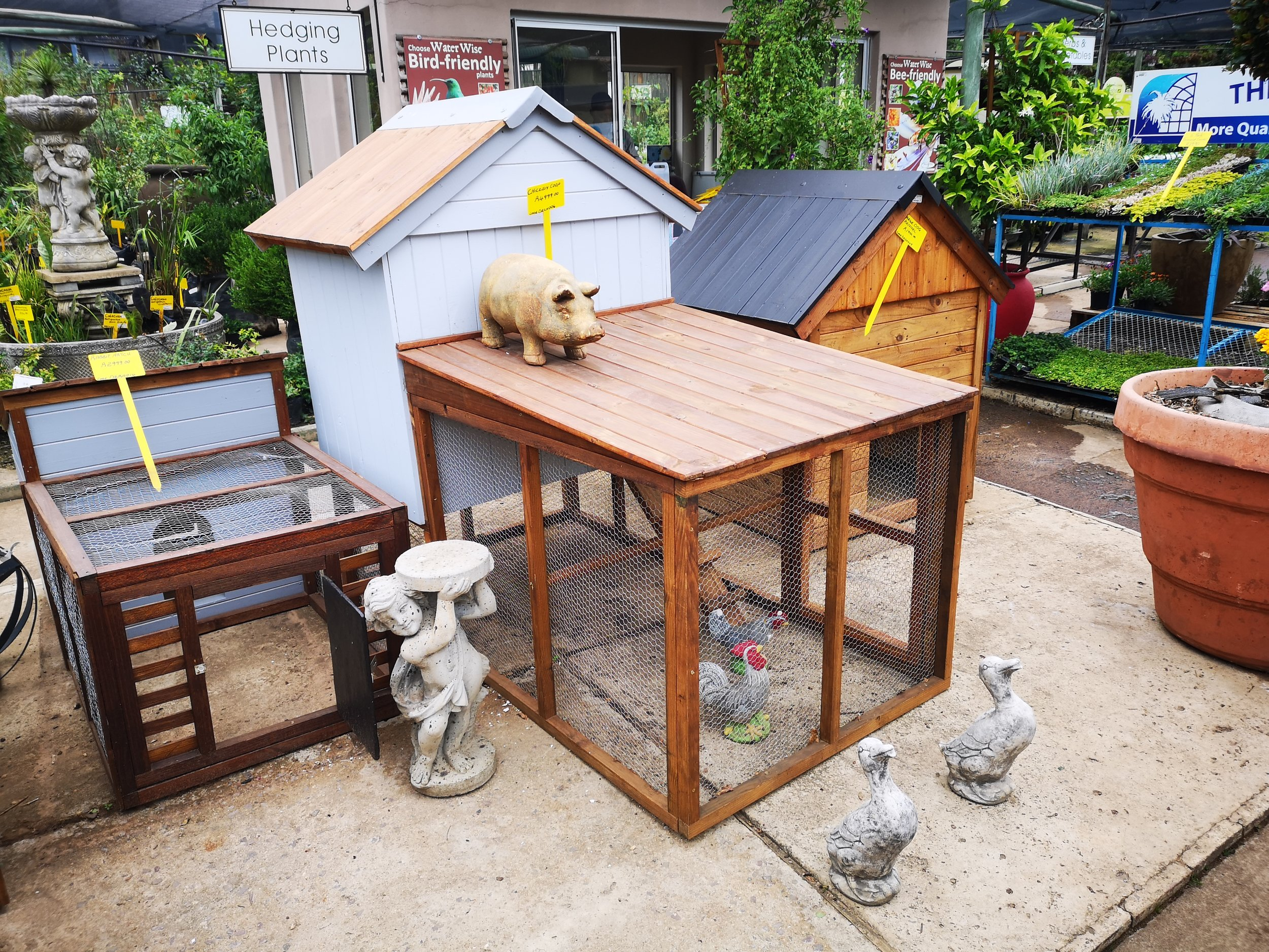 Wooden dog, chicken and rabbit structures