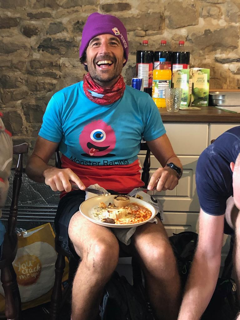 Daz captures Bone (proudly rocking his  ReRun Clothing ) sitting down for a full 3 course meal during the Dales Way ultra - Remember the rule get out of the Checkpoints before they swallow you whole OR kick back and relax when the host offers you a cup of tea and the tastiest veggie cheese pies on the planet
