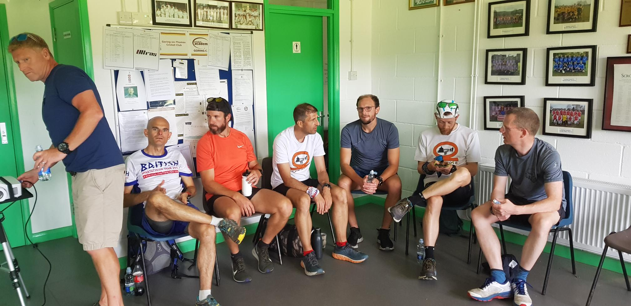 Shane (on the far left) has all the gear AND all the wise ideas….which cannot always be said for the British Spartathlon 2019 Team….only joking Ian x