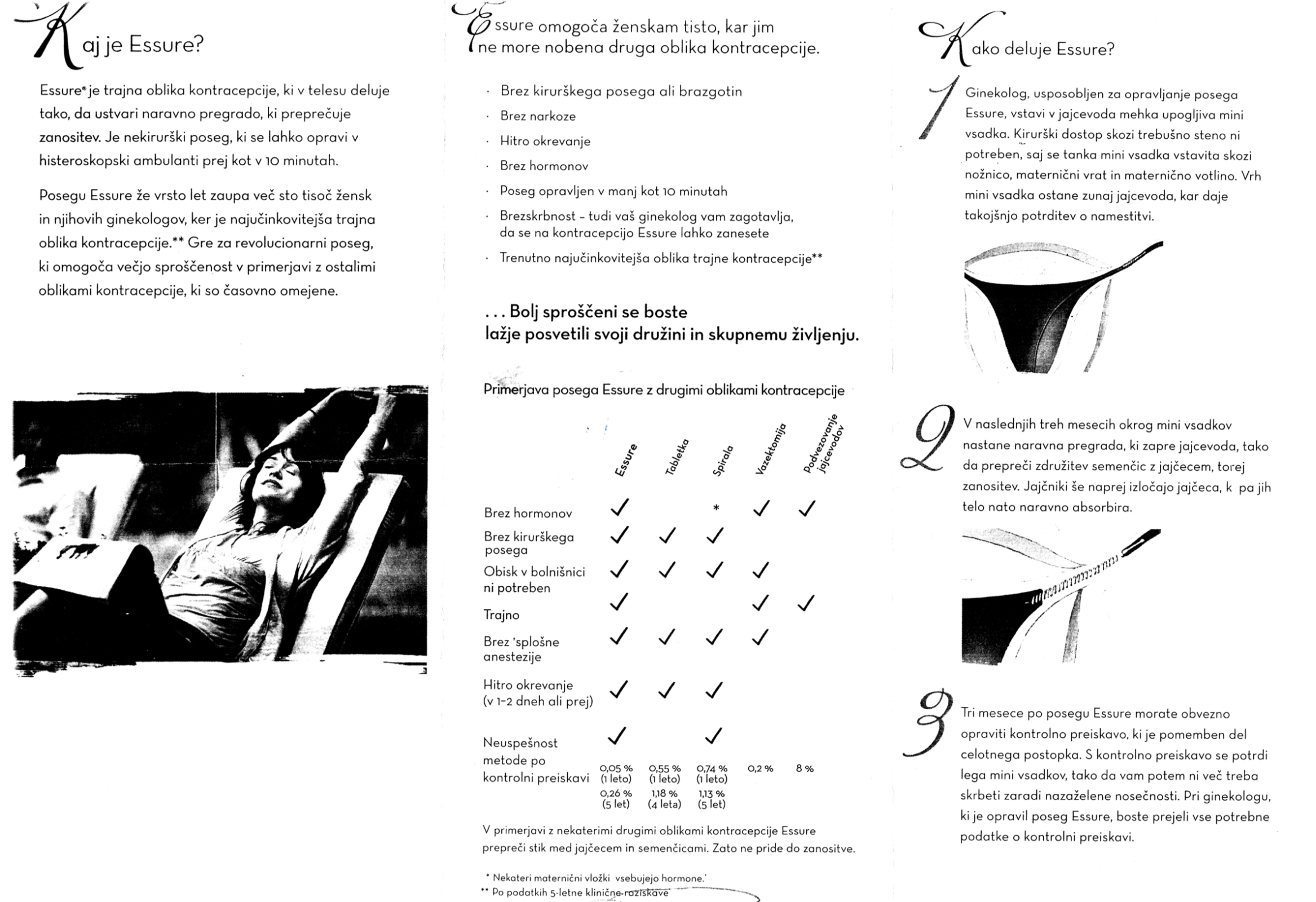 Ena izmed dveh strani brošure Essure za slovenske pacientke.