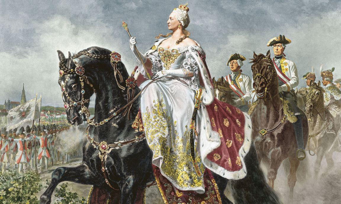 Marija Terezija pregleduje svojo vojsko, med katero pa ni bilo tankov. Slika: Wilhelm Camphausen