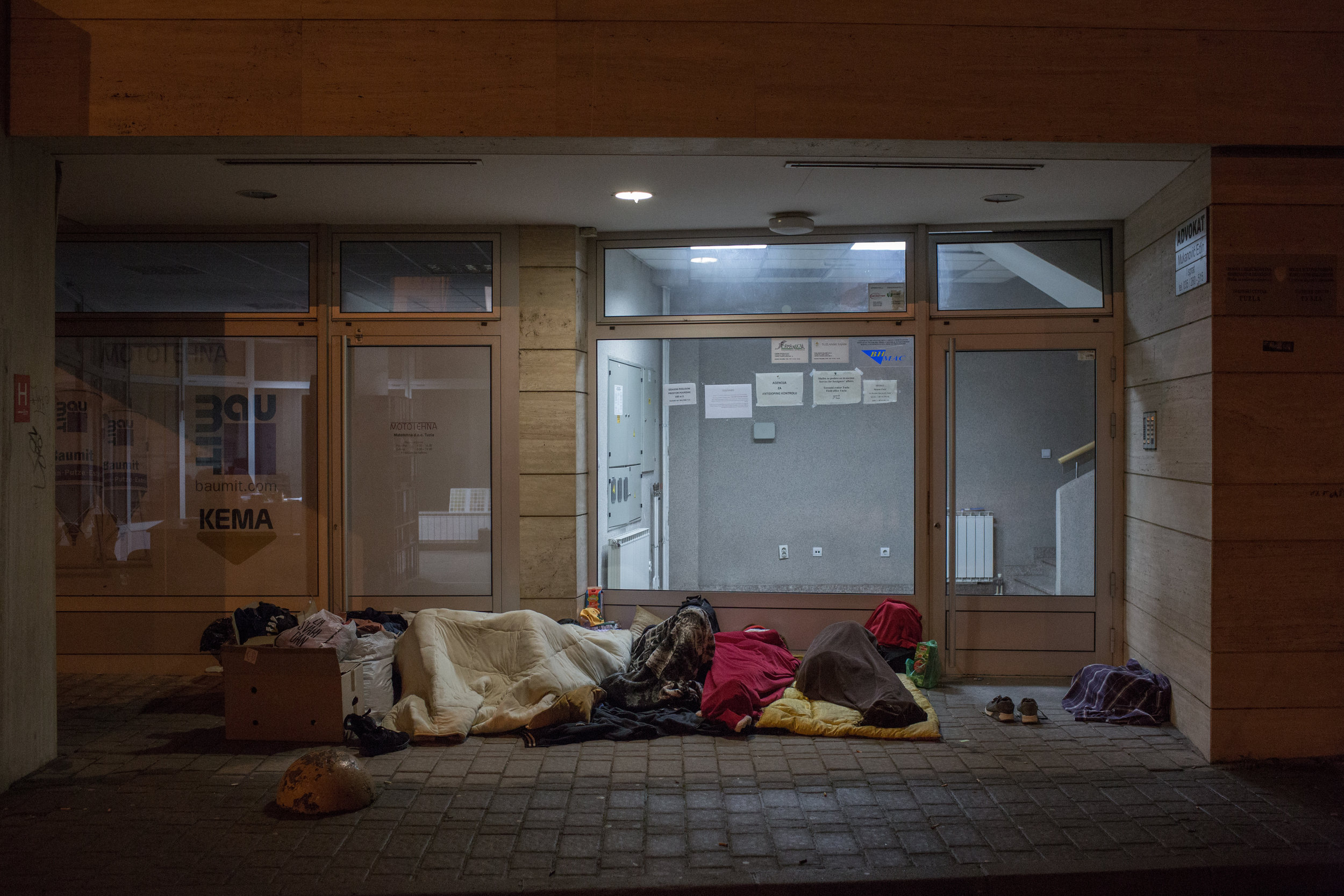 Migrants sleeping in front of the registration centre in Tuzla, the first town they enter on their way from Serbia to Bosnia.
