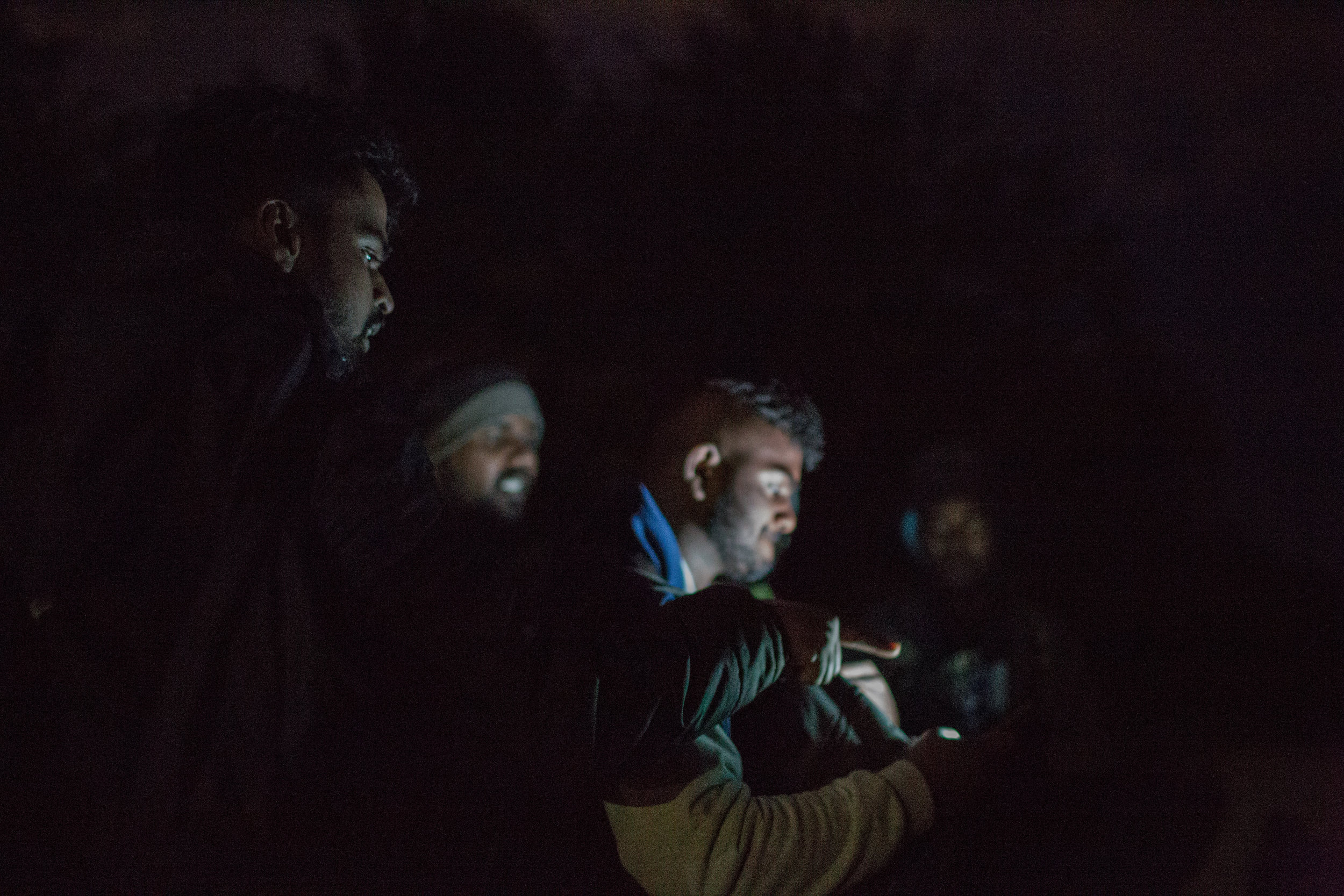 With the help of navigation migrants from India and Sri Lanka are searching the way to Croatia. Zavalje, BiH.