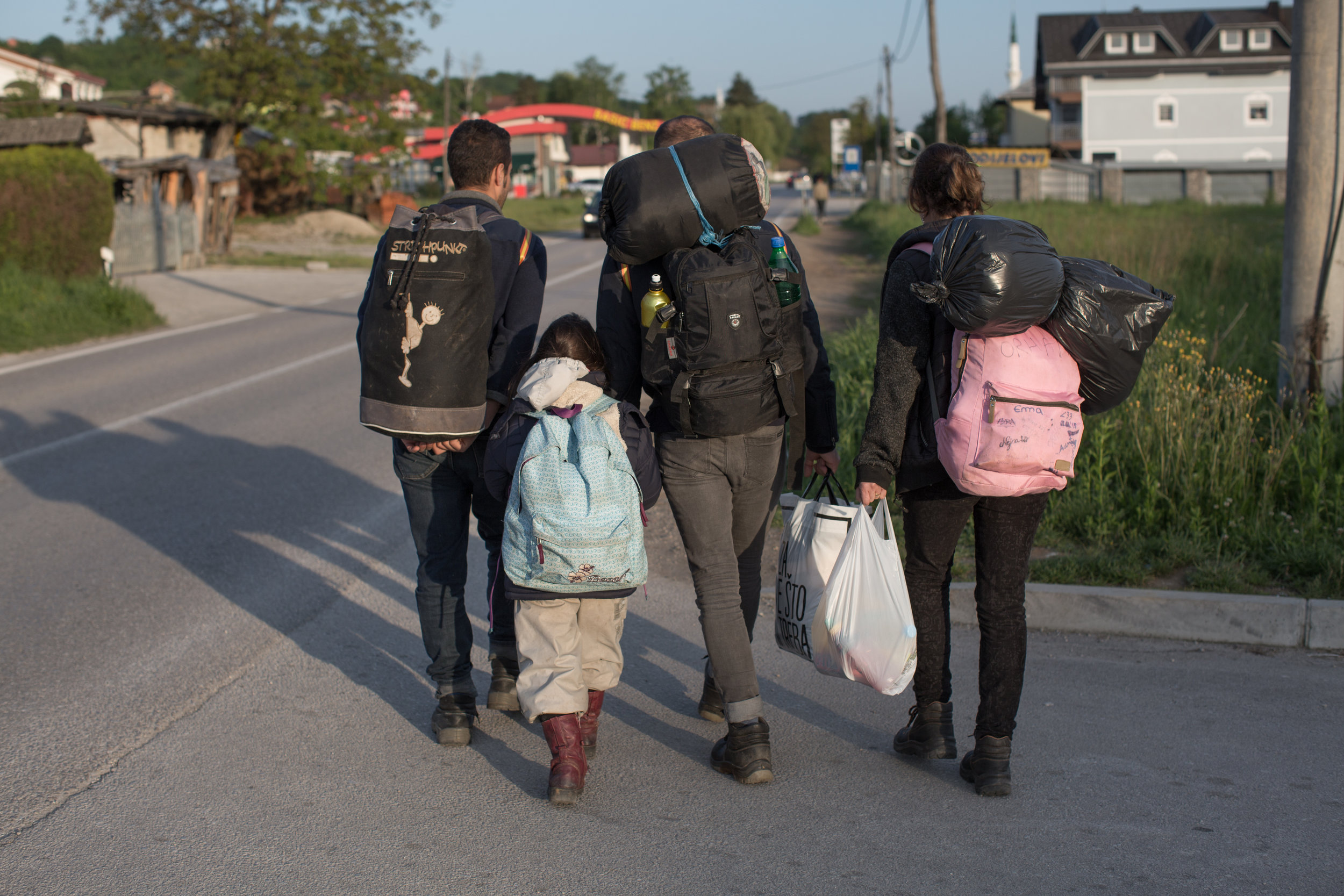 Migrants from Syria on their way to the migrant center Miral, Velika Kladuša, BiH.
