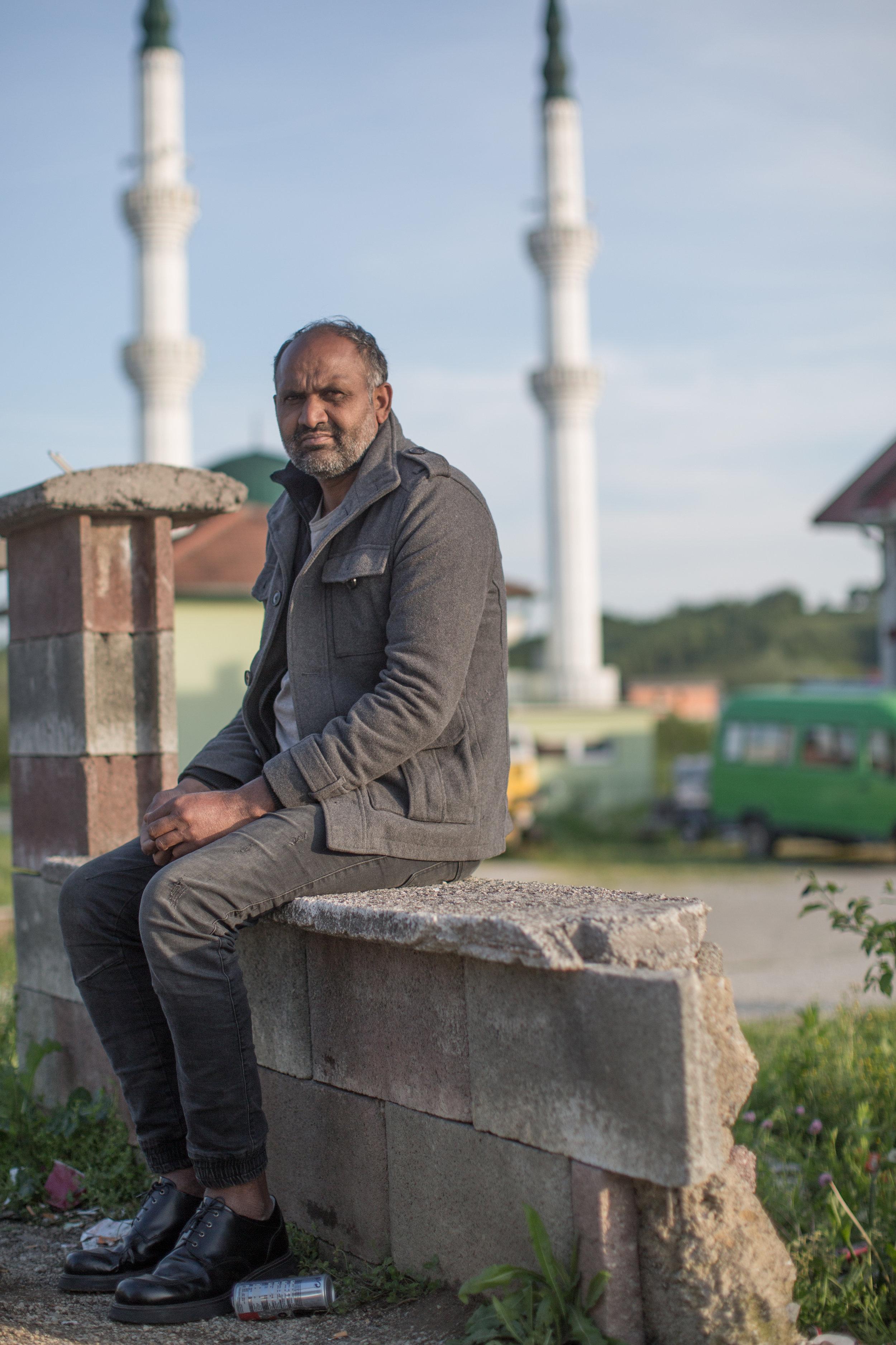 In front of the migrant center Miral, Velika Kladuša, BiH.