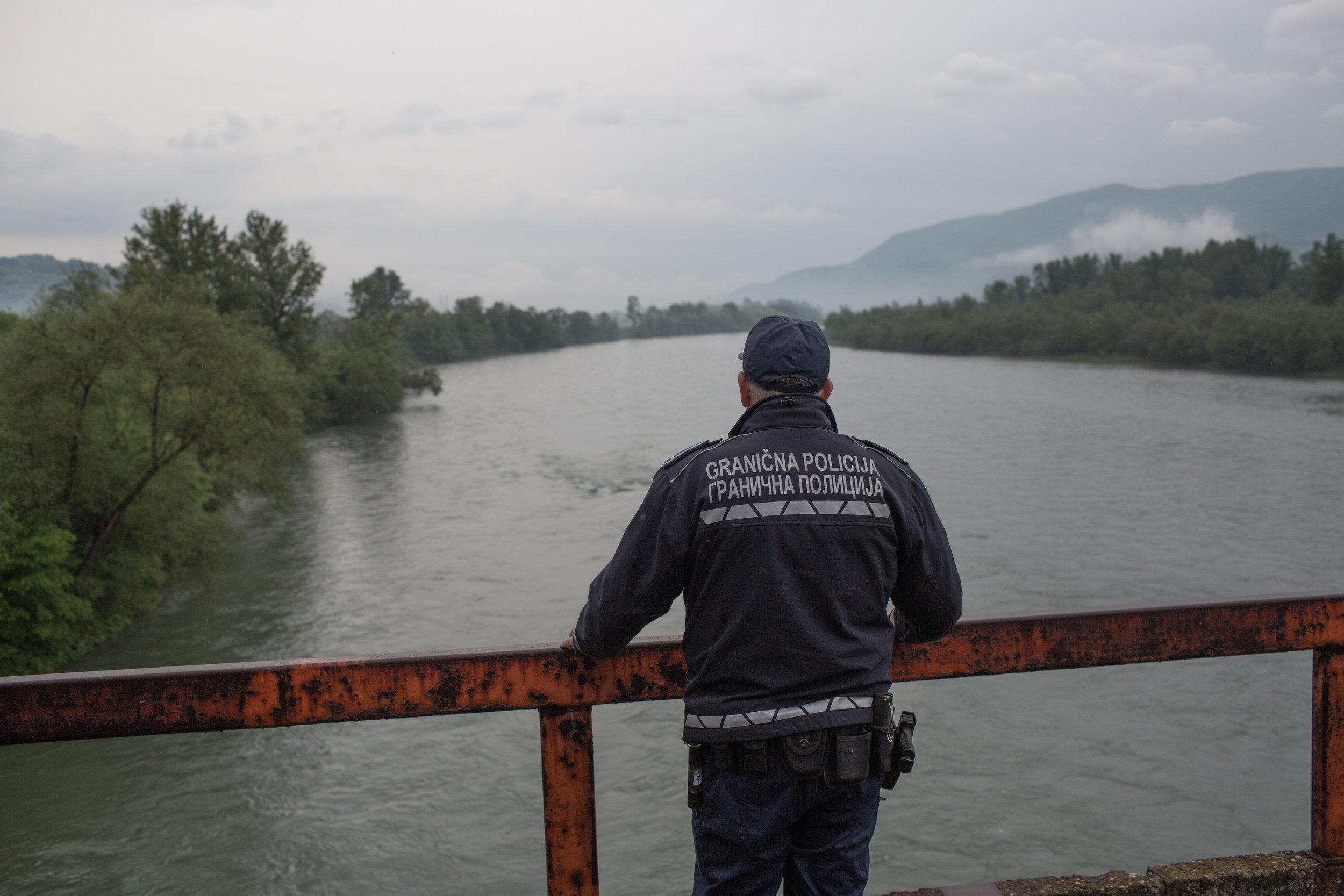 Railway bridge across the Drina River near Karakaj on the border between BiH and Serbia.