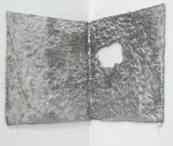 corner object 2;  cast aluminium, brass; 35 x 33 x 33 cm