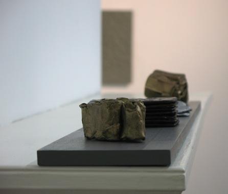 pressed object group;  cast bronze, patinated cast bronze, cast aluminium, cast bronse, wood; 84 x 69 x 52 cm