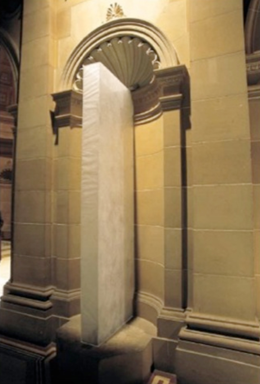 'AGNSW Entrance'; perspex, cable, sewn interfacing, steel plate, dimensions variable