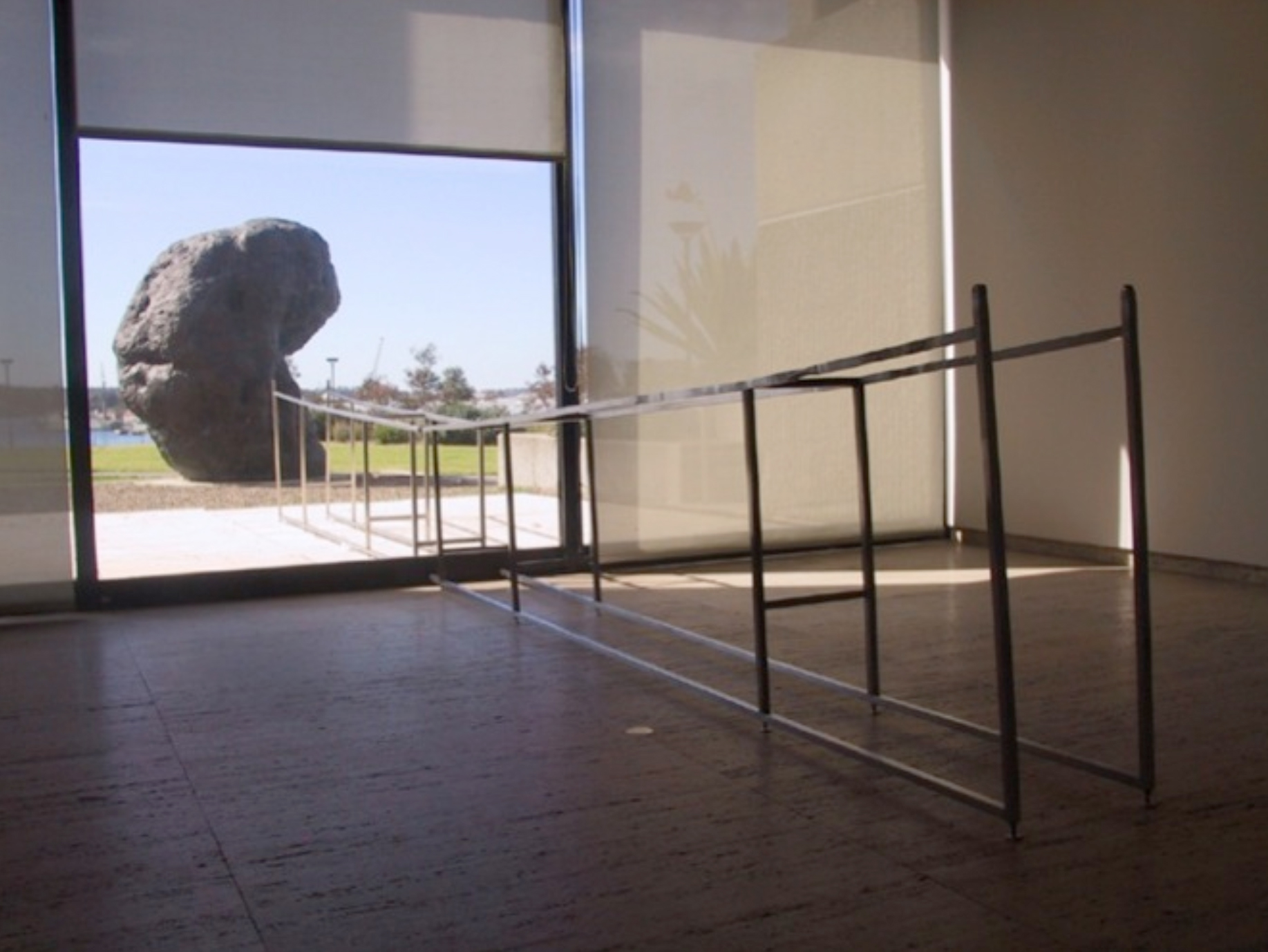 'AGNSW Lower Gallery interior/exterior'; cast steel, steel frame, dimensions variable