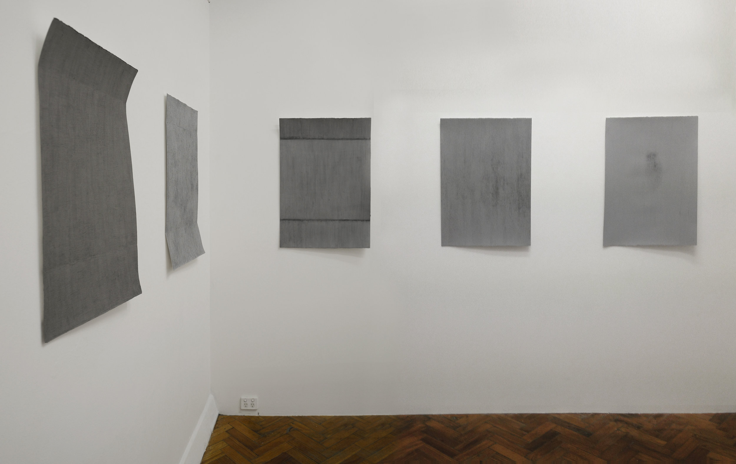 Object drawings   Acrylic, aluminium pigment, graphite on folded paper. Each 80 x 50cm. Installation view, Sarah Scout Presents, Melbourne. 2017.