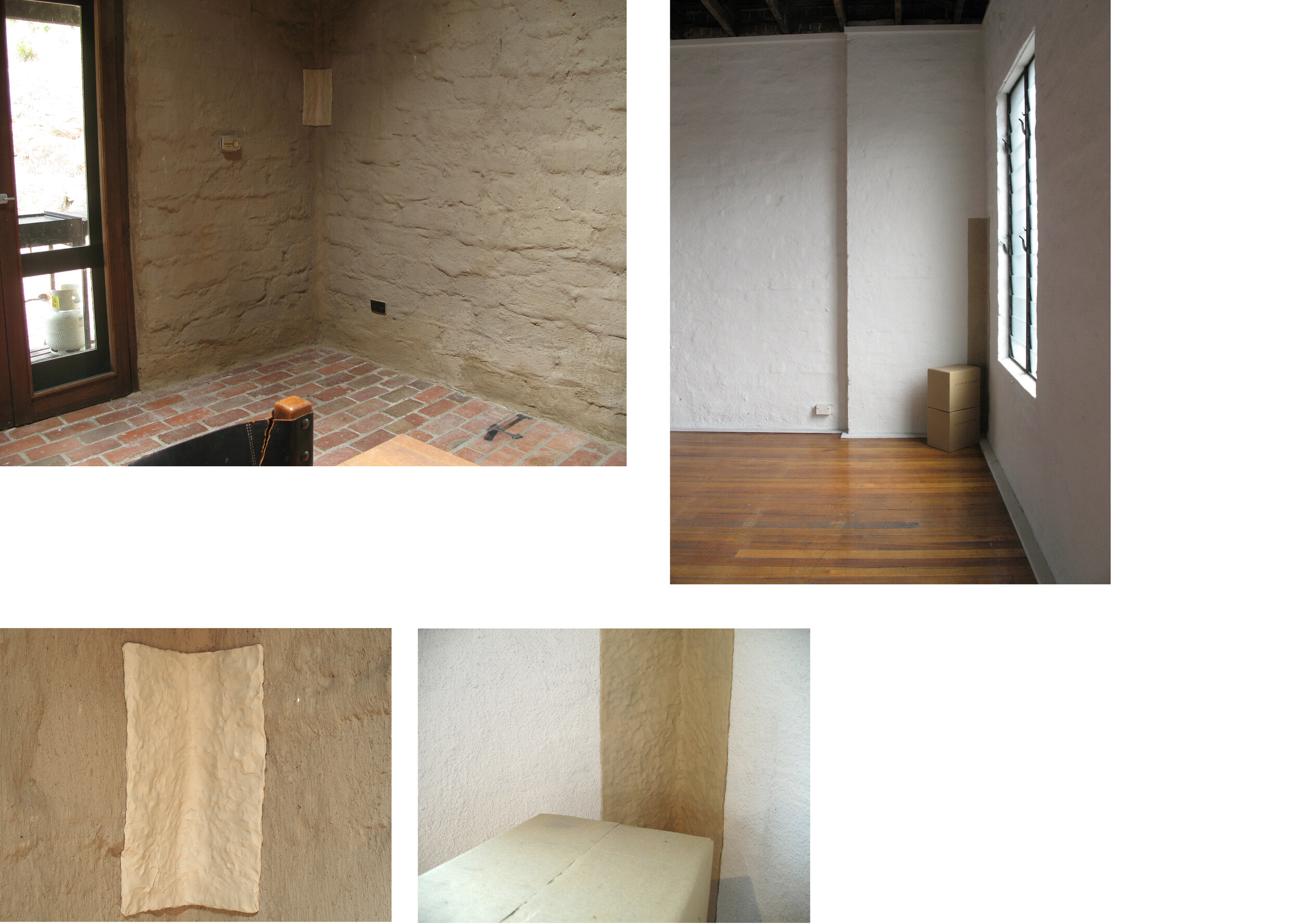 Will to Build, 2008. Birrarung House, Eltham bedroom intervention: pressed clay / Conical Gallery: pressed clay, cardboard boxes