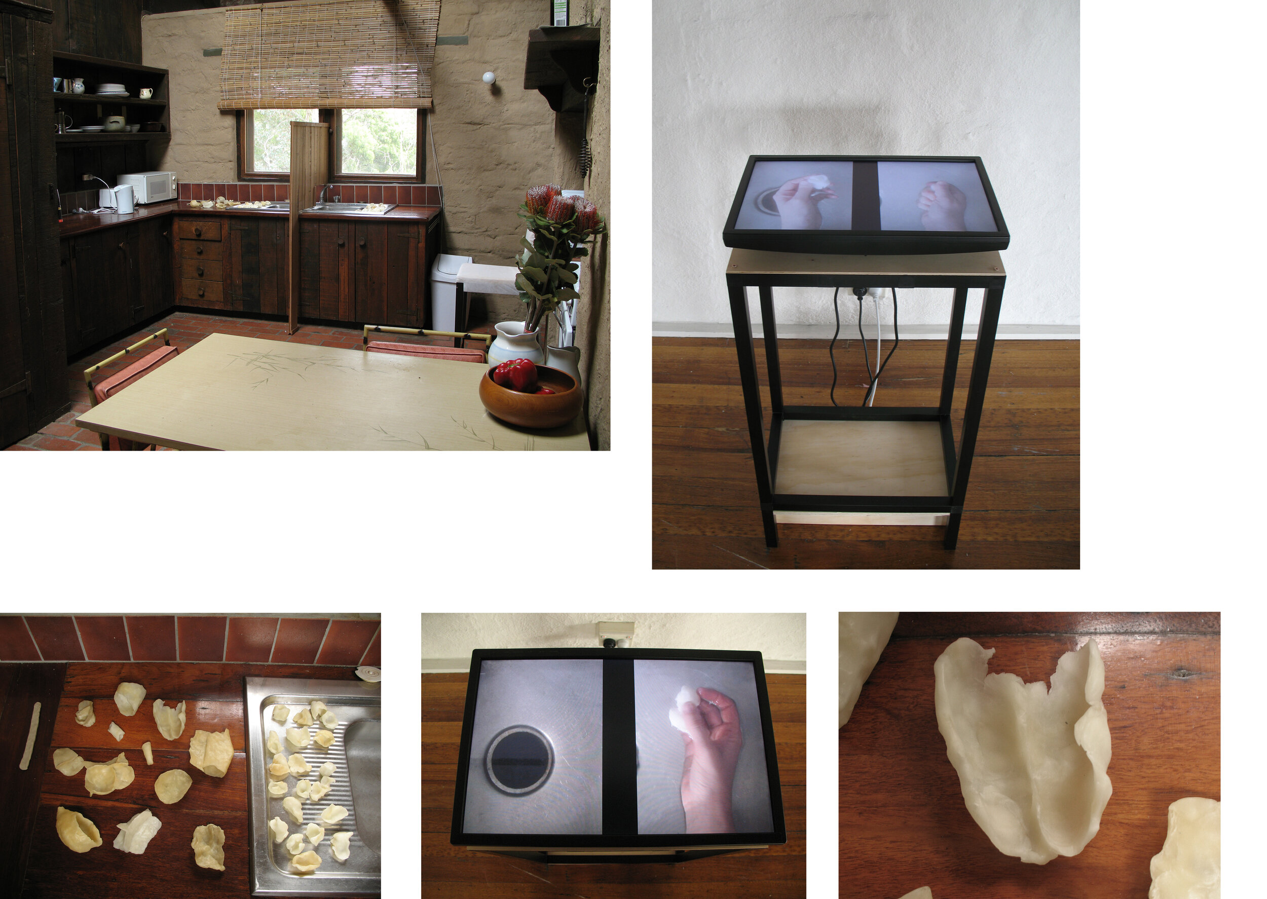 "Will to Build, 2008. Birrarung House, Eltham kitchen: timber panelling, hand-modeled wax / Conical Gallery: looped video (67'30"" duration), display screen, aluminium, craftwood"