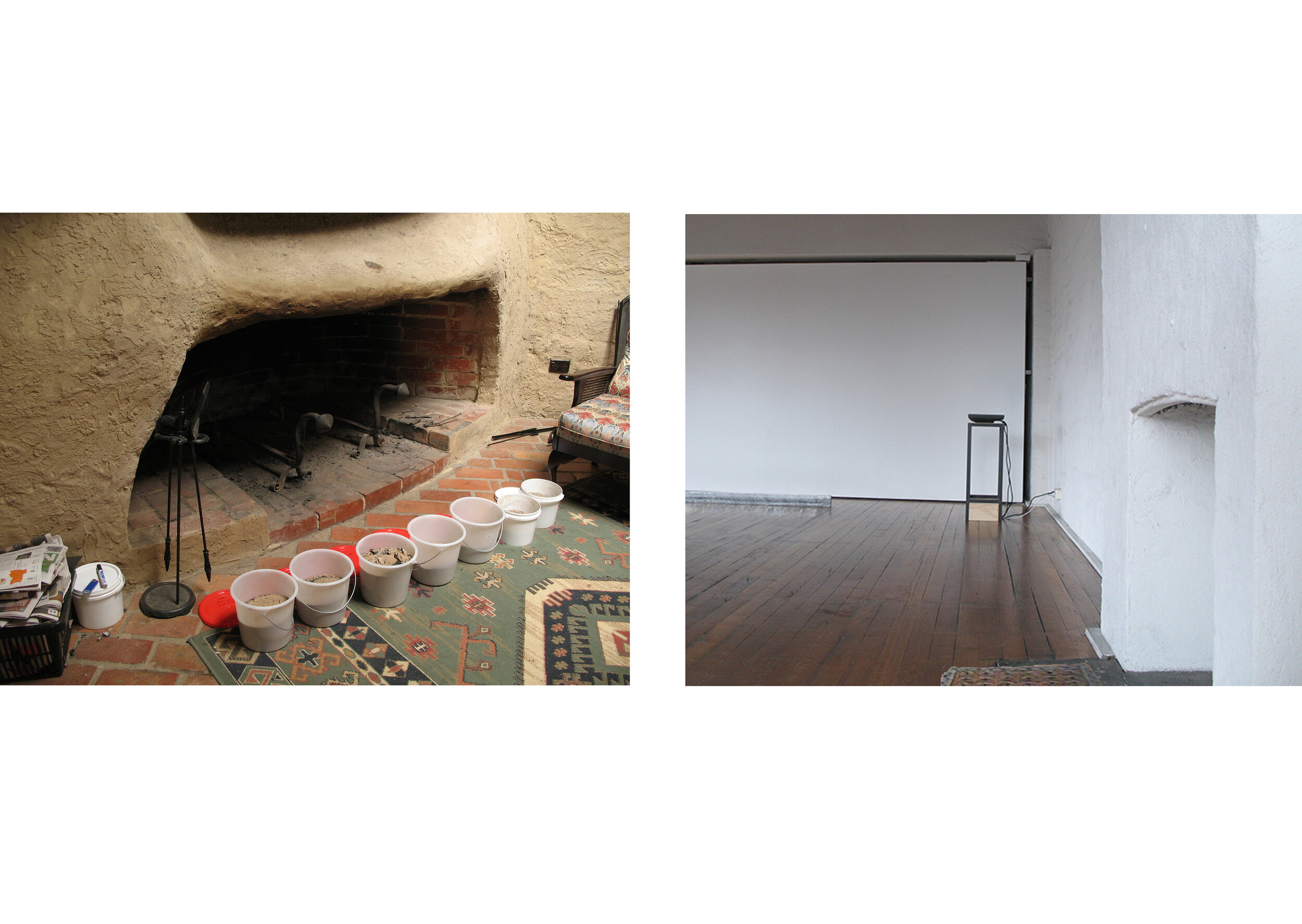 Will to Build, 2008. Birrarung House, Eltham hearth: burnt ash, dated plastic buckets; Conical Gallery: domestic woven women's rug