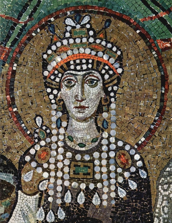 Keizerin Theodora, mozaïek uit het koor van San Vitale in Ravenna, circa 547 na Christus.