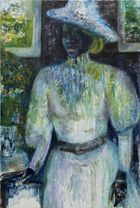 Iris Kensmil,  Uit de  serie: Out of History,: Elisabeth Samson, 2013, collection:  Amsterdam Museum, (f) Gert Jan van Rooij, (olieverf op linnen,155 x 105 cm).