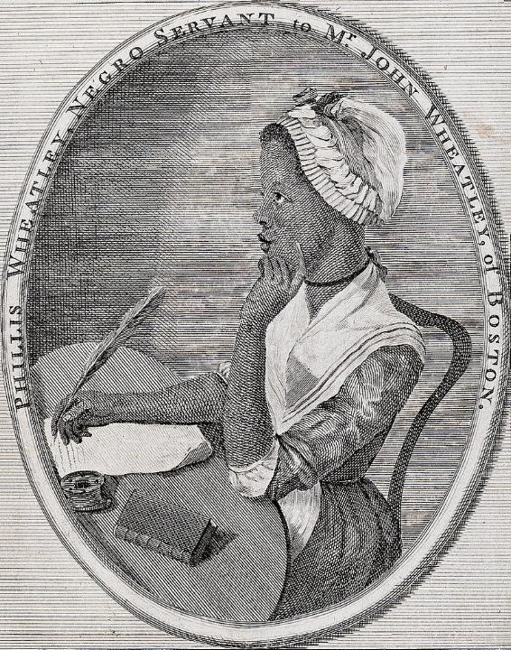 Phillis Wheatley, illustratie door Scipio Moorhead voor haar boek   Poems on Various Subjects,  1773.