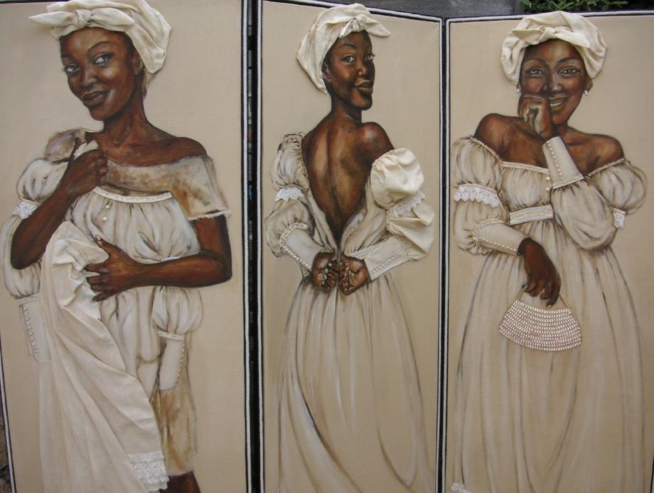 Virginia 'a rebellious Arubian slave', driedelig kamerscherm door kunstenares Vanessa Paulina (2005).
