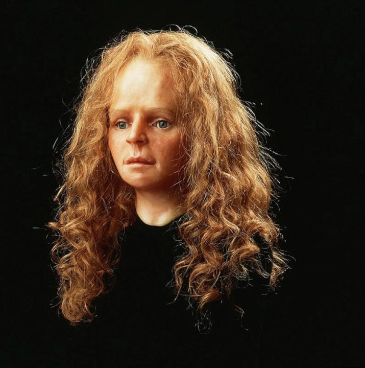 Reconstructie uit 1997 hoe het meisje van Yde er vermoedelijk uit heeft gezien, Universiteit Manchester.