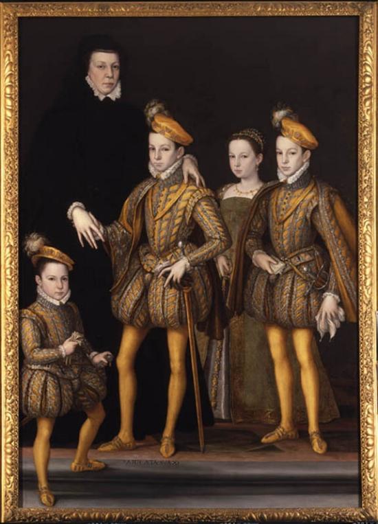 Portret van Catherine de Medici en haar kinderen, circa 1561.