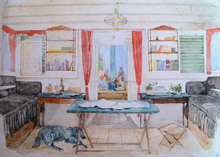 Een kamer in Beiroet getekend door Alexandrine Tinne, 1857.