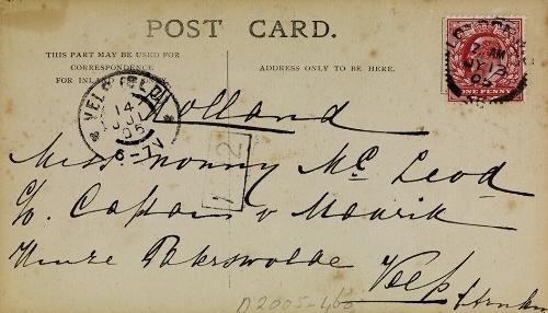 Ansichtkaart, geschreven door Mata Hari vanuit Londen, 1905 (Fries Museum).