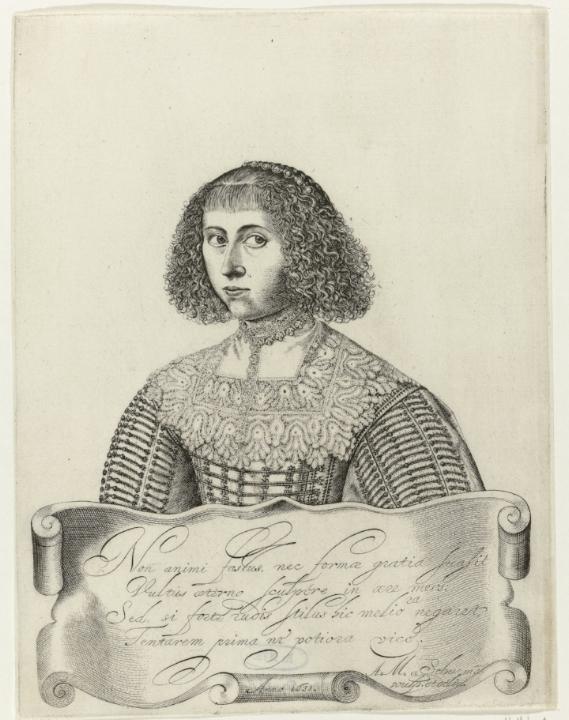 Zelfportret van Anna Maria van Schurman uit 1640.
