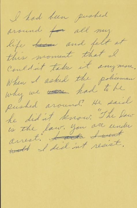 Een briefje geschreven door Rosa Parks waarin ze haar motivatie voor de  boycot beschrijft, circa 1956-1958 (The Library of Congress).