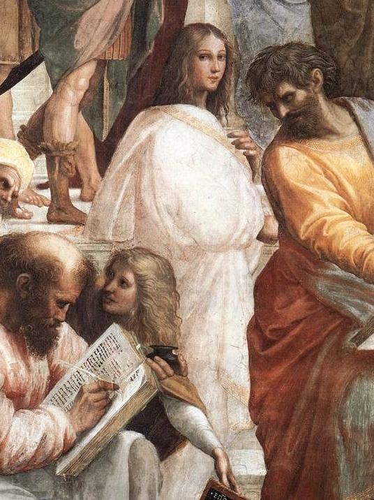 Fragment uit Rafaels' schilderij 'School van Athene' uit 1509. Er wordt vermoed  dat deze vrouw op het schilderij Hypathia is.