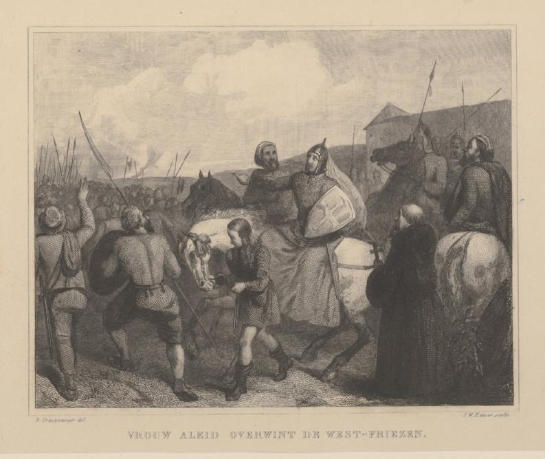 Gravin Aleid van Kleef trekt ten strijde tegen de West-Friezen, Provinciale Atlas Noord-Holland 1840.