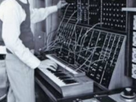 Moog modular synthesizer at the Brooklyn College Electronic Music Studio in the 1970s.