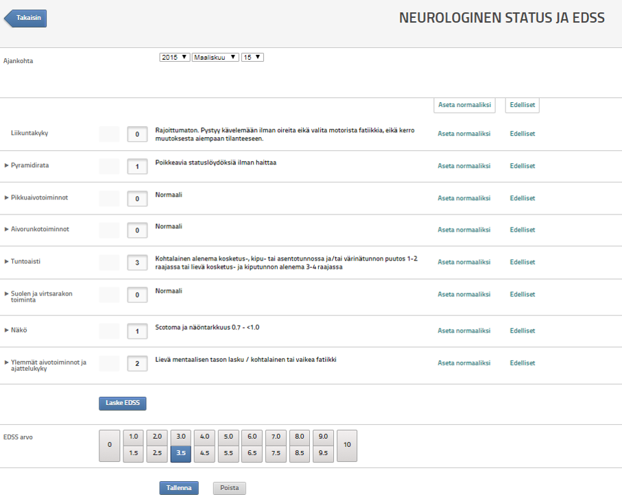 StellarQ MS:n tilalle MS-taudin hoitorekisterin neurologinen status ja haitta-asteen (EDSS) automaattinen laskenta