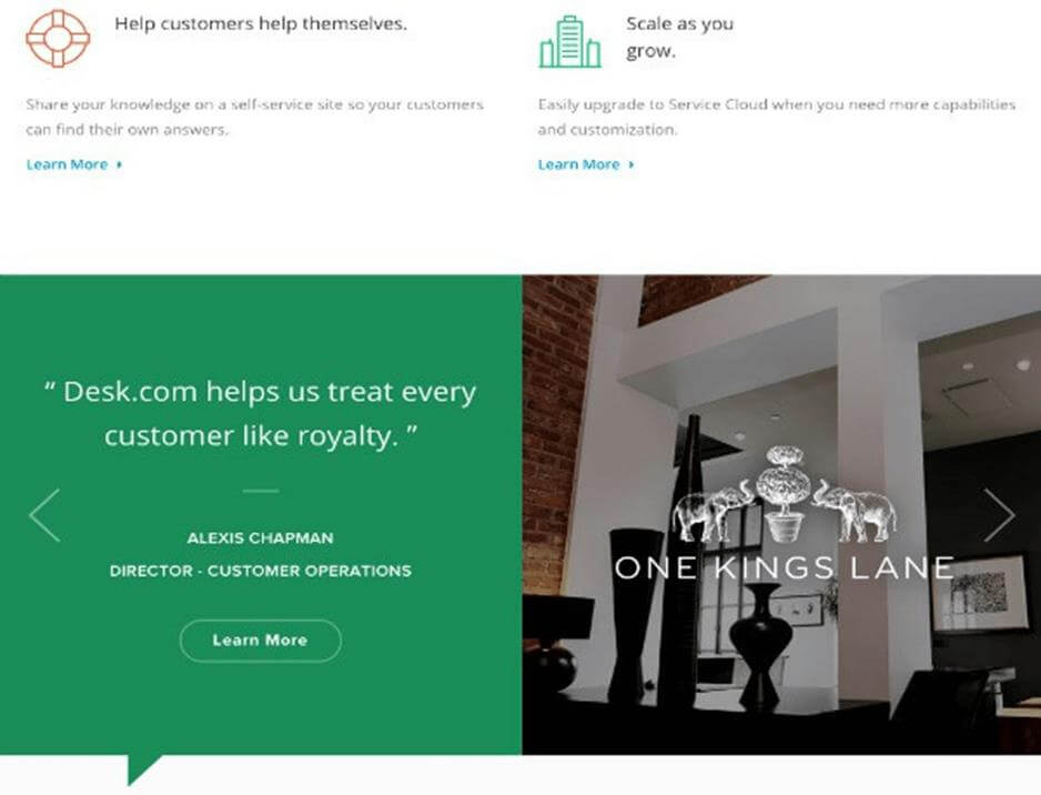 Desk.com example of strong customer testimonial