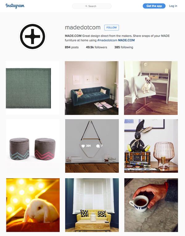 Made dot com good content marketing example instagram